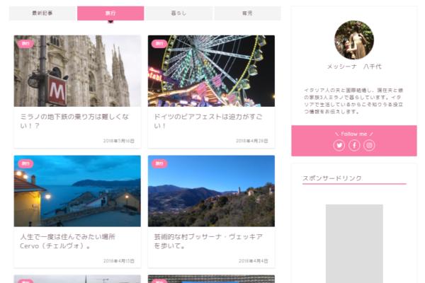 ブログイタリア日和トップ画面